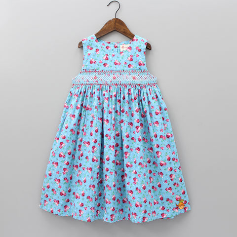 Blue Calf Length Rose Print Dress
