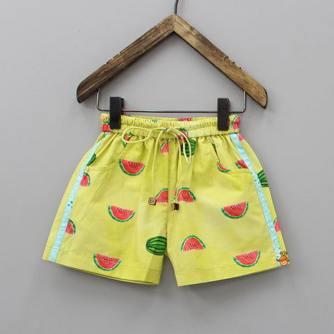 Organic Lime Green Watermelon Splash Print Shorts