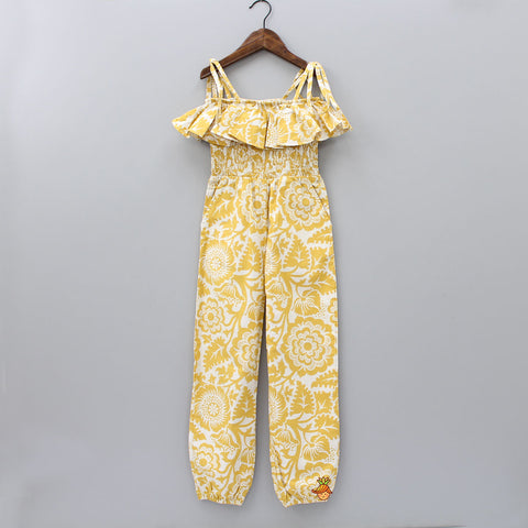 Mustard Yellow Abstract Print Jumpsuit
