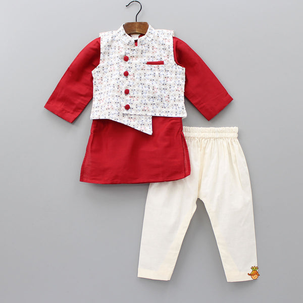 Red Kurta And Off-White Pyjama With Cycle Printed Jacket