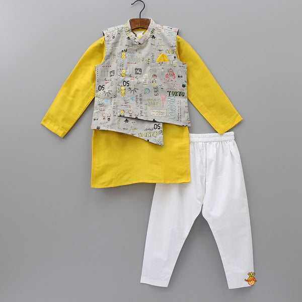 Yellow Kurta And  Pyjama With Printed Jacket