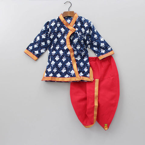 Navy Blue And Red Angrakha Kurta Dhoti Set