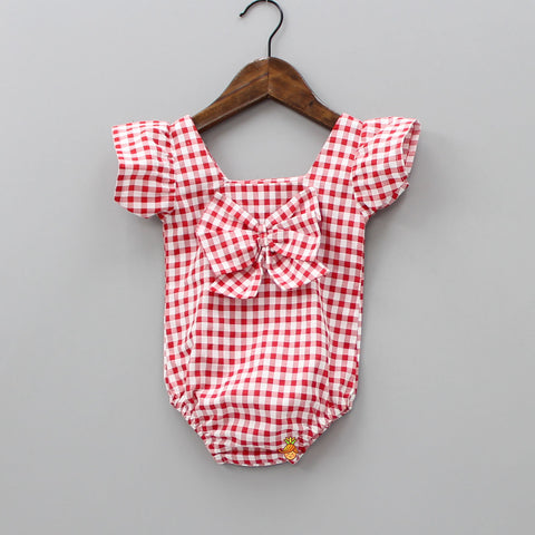 Pre Order: Red And White Checkered Bodysuit