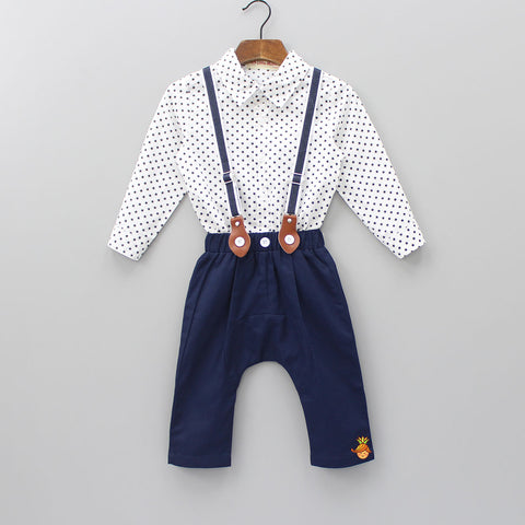 Star Printed Shirt And Pant With Suspender