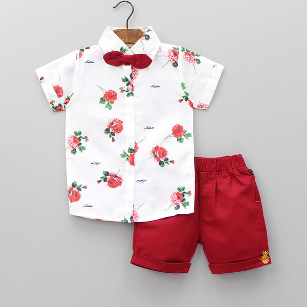 White Floral Print Shirt And Maroon Shorts Set