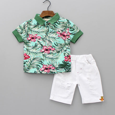 Green Floral Print Tee With Shorts Set