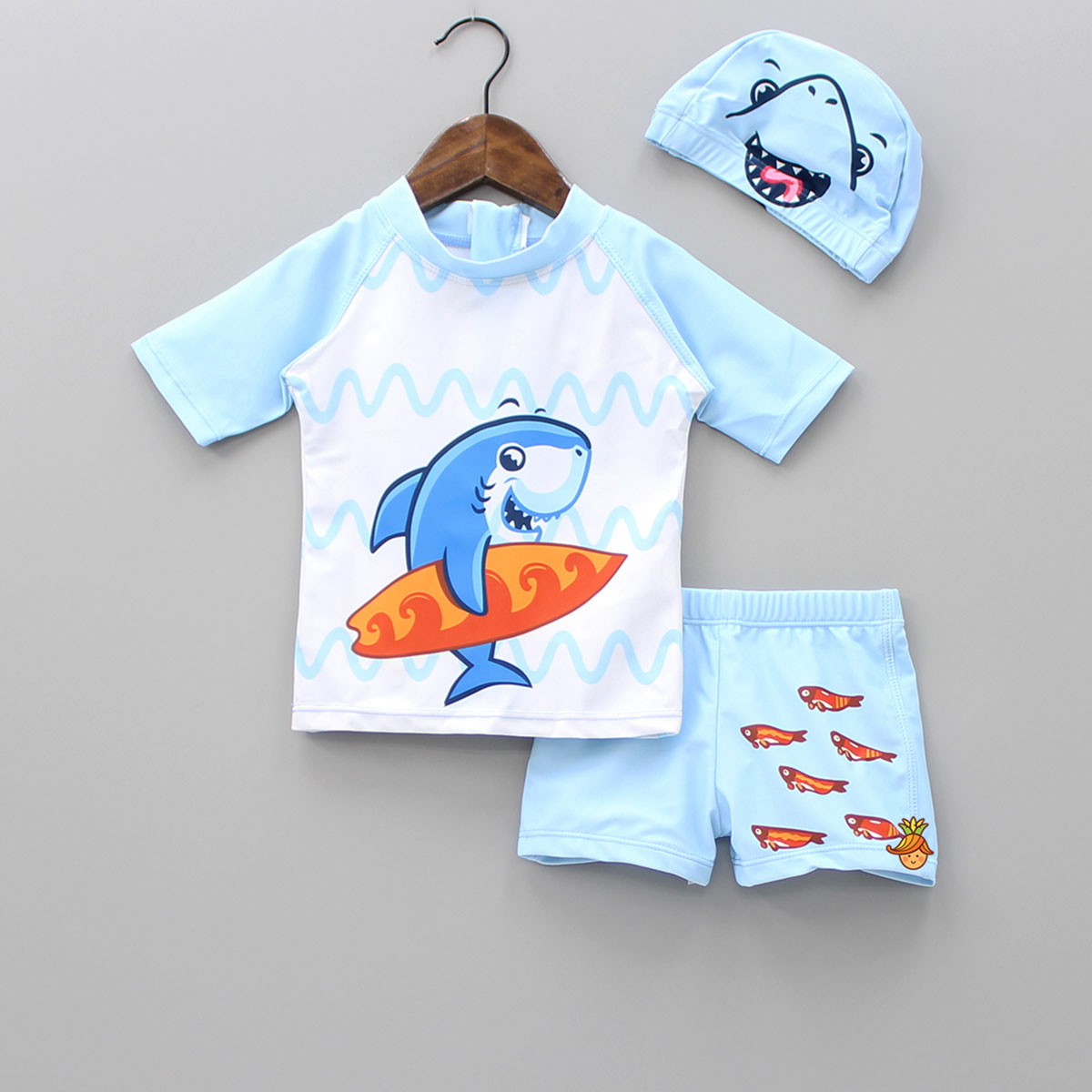 Surfer Shark Swimwear With Cap