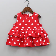 Red Polka Dots Print Top And Black Shorts