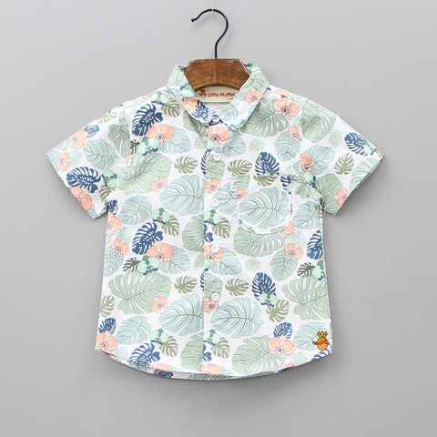 White Leaf Print Shirt