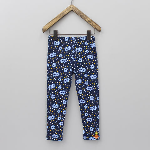 Navy Blue Floral Print Leggings