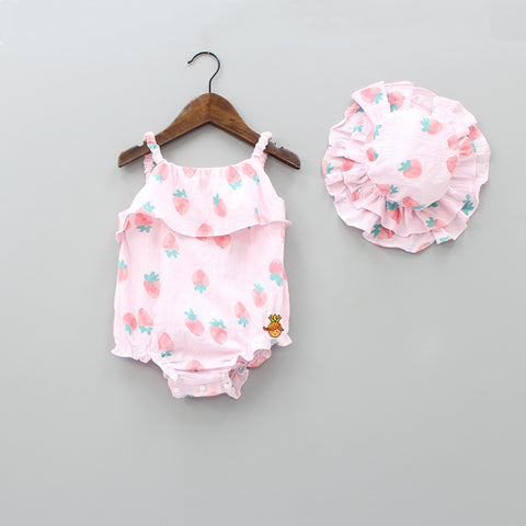 Strawberry Print Bodysuit Top With Cap