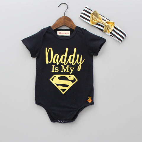 Superhero Dad Black Bodysuit Top With Headband
