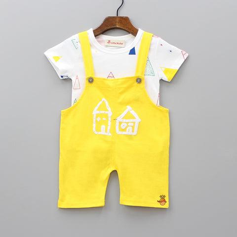 Triangle Print Tee And Yellow Dungaree