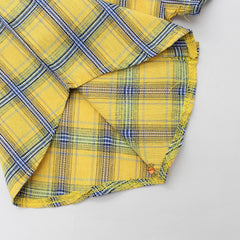 Yellow Checks Print Shirt And Grey Shorts With Suspenders