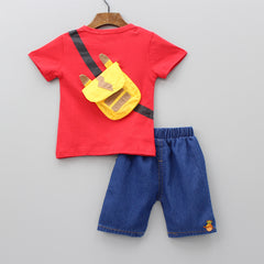 Red Tee With Attached Pouch And Blue Shorts