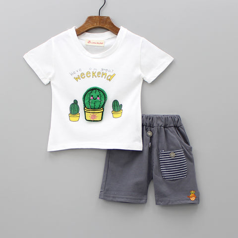 White Cactus Tee And Grey Shorts