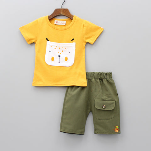 Yellow Tee With Olive Green Shorts
