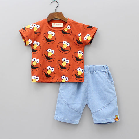 Muppet Print Top And Shorts Set