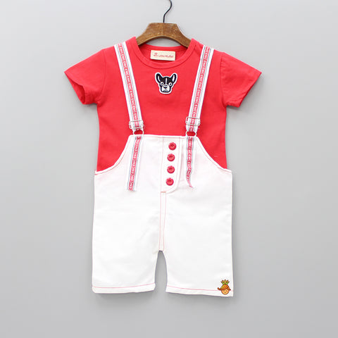Red Tee And White Dungaree Set