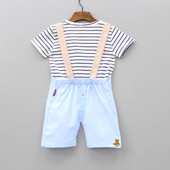 Striped Tee And Light Blue Dungaree Set