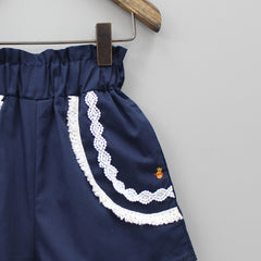 Navy Blue Shorts With Lace