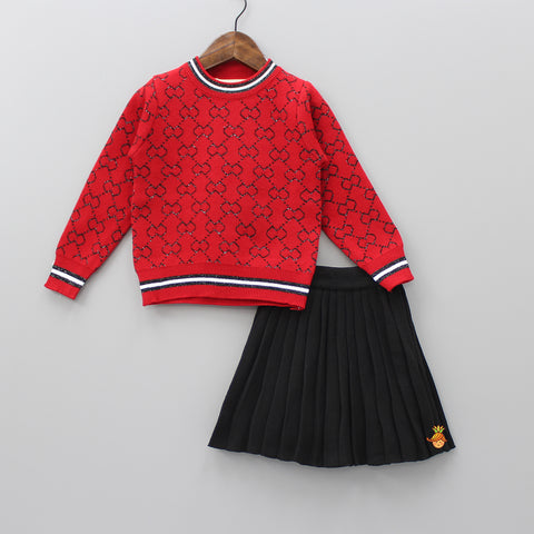Red Printed Top And Black Skirt Set