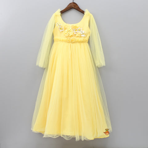 Yellow Floral Calf Length Dress