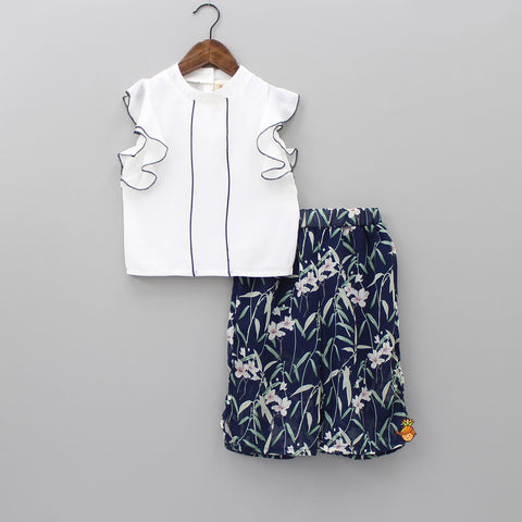 Frilly White Top And Floral Pant Set
