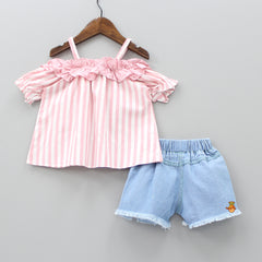 Striped Off-Shoulder Top And Embroidered Shorts