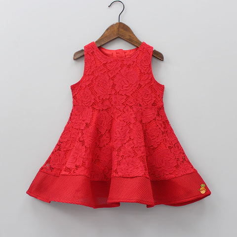 Red Cutwork Thigh Length Dress