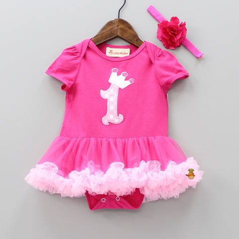 Crownie Pink Bodysuit With Headband
