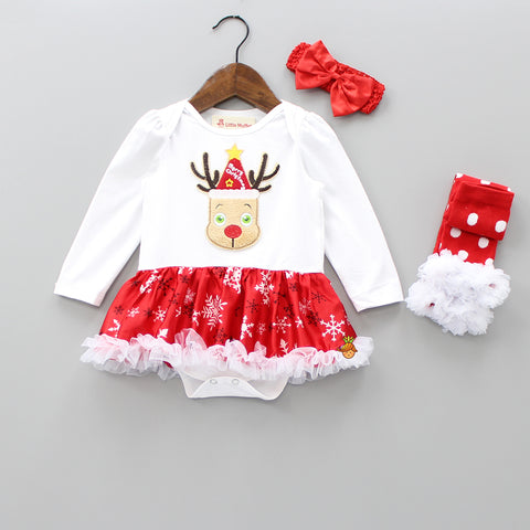 Reindeer Patch Bodysuit - 3 Piece Set