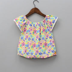 Multi Colour Floral Embroidery Top