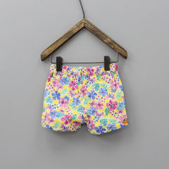 Multi Colour Floral Embroidery Shorts