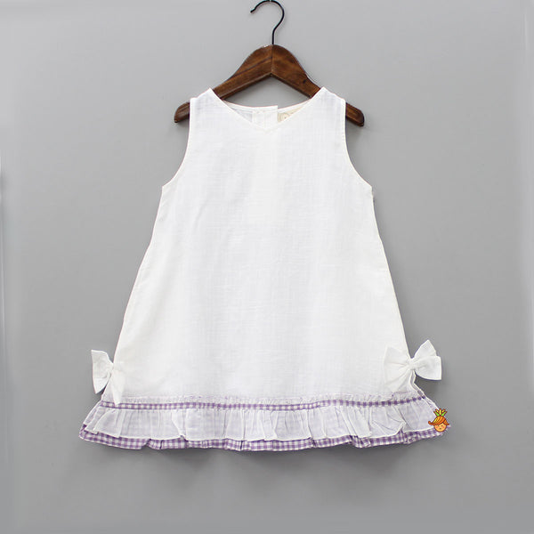White Sleeveless Checks Frills Dress
