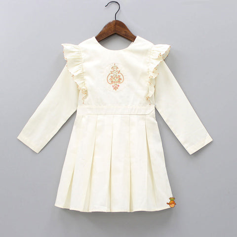 Pre Order: Organic Off-White Hand Embroidered Dress