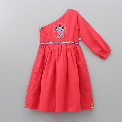 Pre Order: Organic Red One Shoulder Hand Embroidered Dress