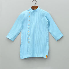 Pre Order: Light Blue Pintucks Kurta with Patiala