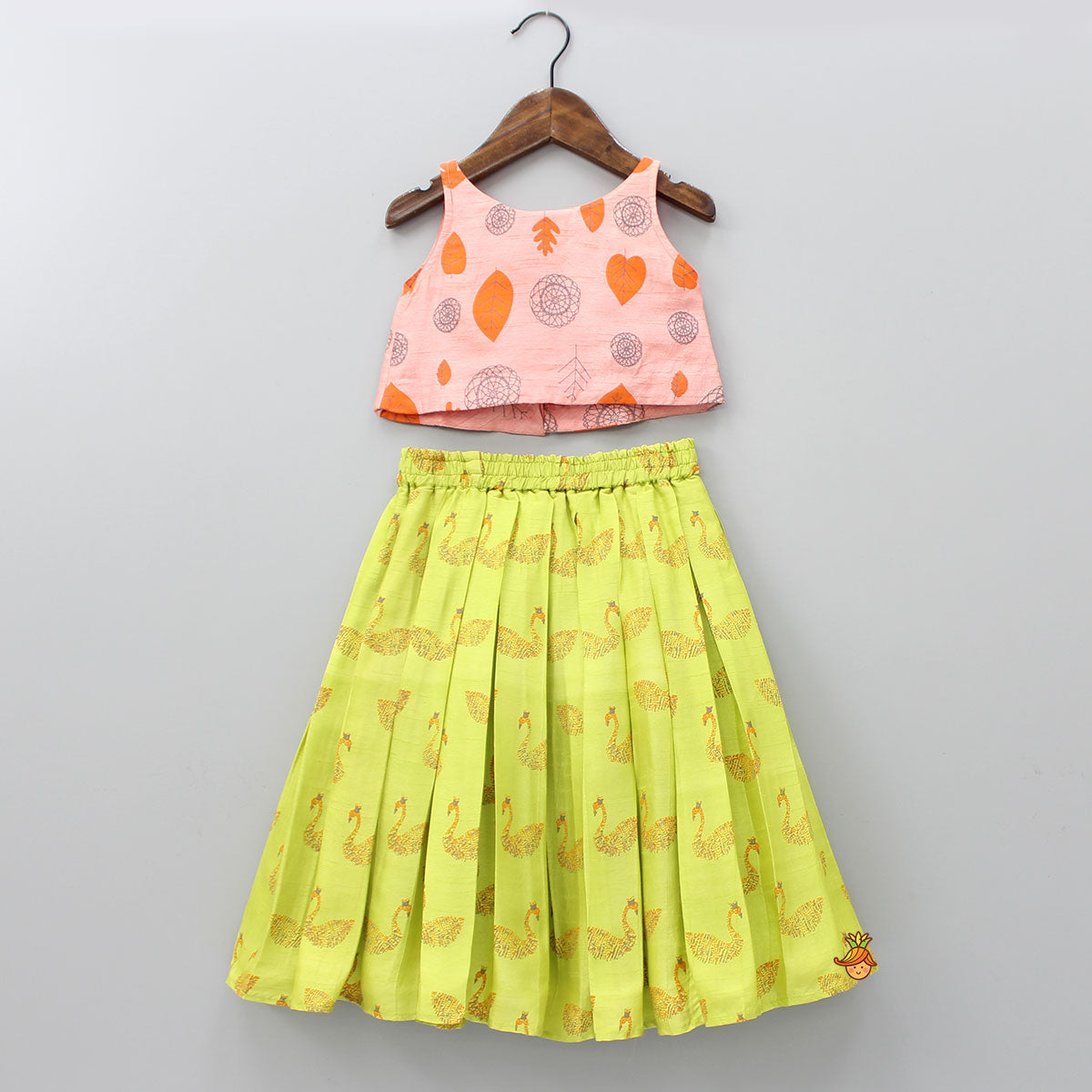 Pre Order: Peach Crop Top With Swan Printed Skirt