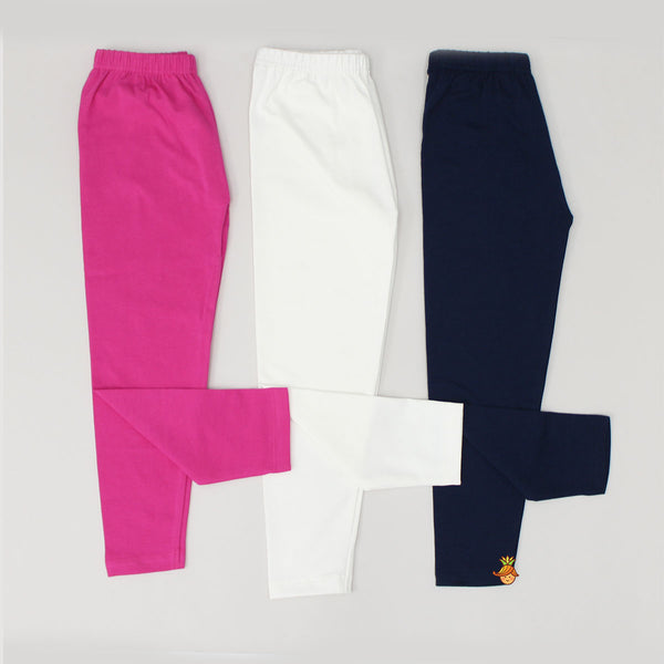 Set Of 3 Leggings - White, Pink, Navy Blue