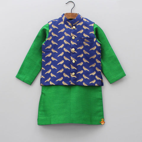 Pre Order: Green Kurta With Parrot Print Jacket