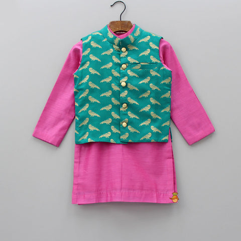 Pre Order: Pink Kurta With Parrot Print Jacket