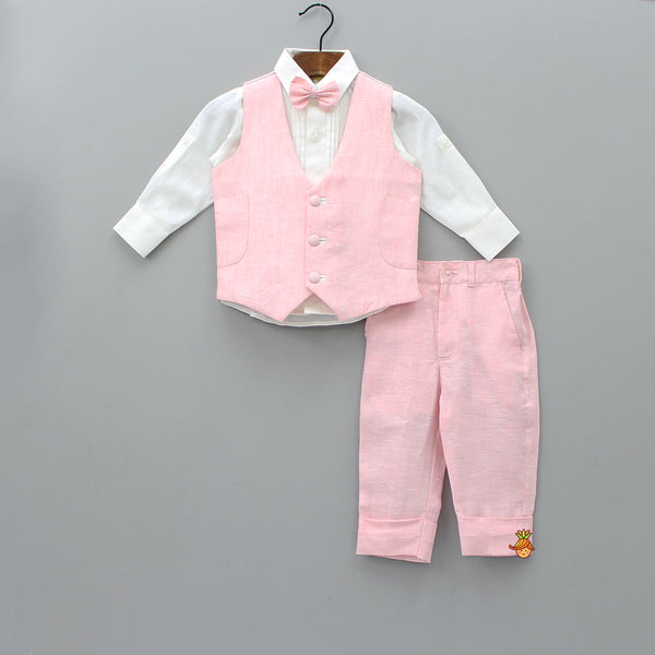 White Shirt And Pant With Pink Waistcoat