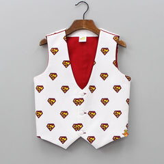 Superman Printed Waistcoat With Bow