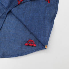 Blue Car Embroidered Shirt