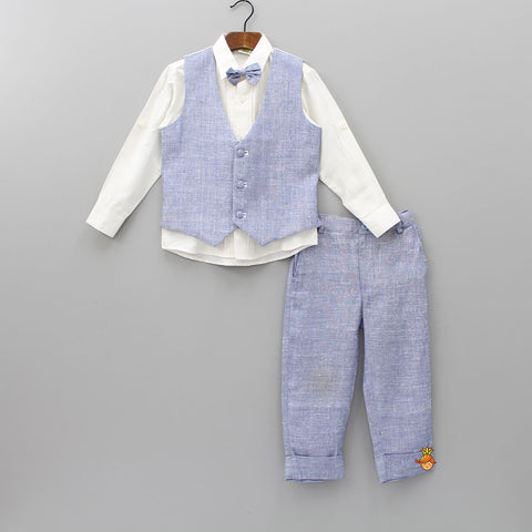 White Shirt With Blue Pant And Waistcoat