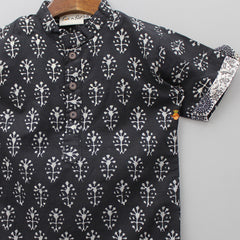 Black Jaipuri Print Collar Short Kurta