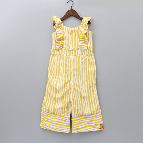 Yellow And White Stripped Jumpsuit