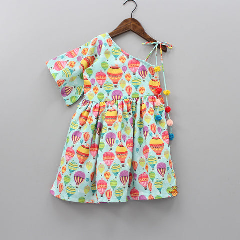 Hot Air Balloon Printed One-Shoulder Dress