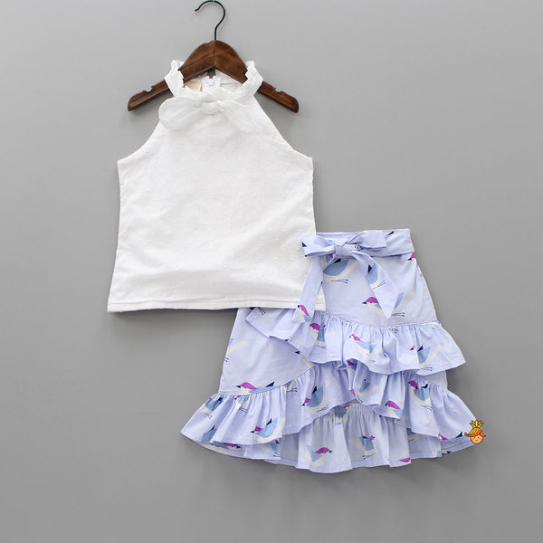 White Top And Bird Printed Skirt Set